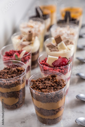 mini glasses with cakes ready to eat