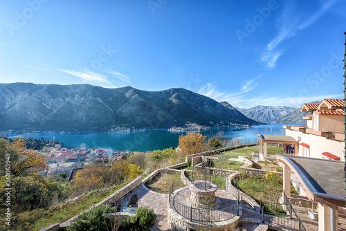 Fototapeta Beautiful autumn view of the Bay of Kotor and mountains obraz