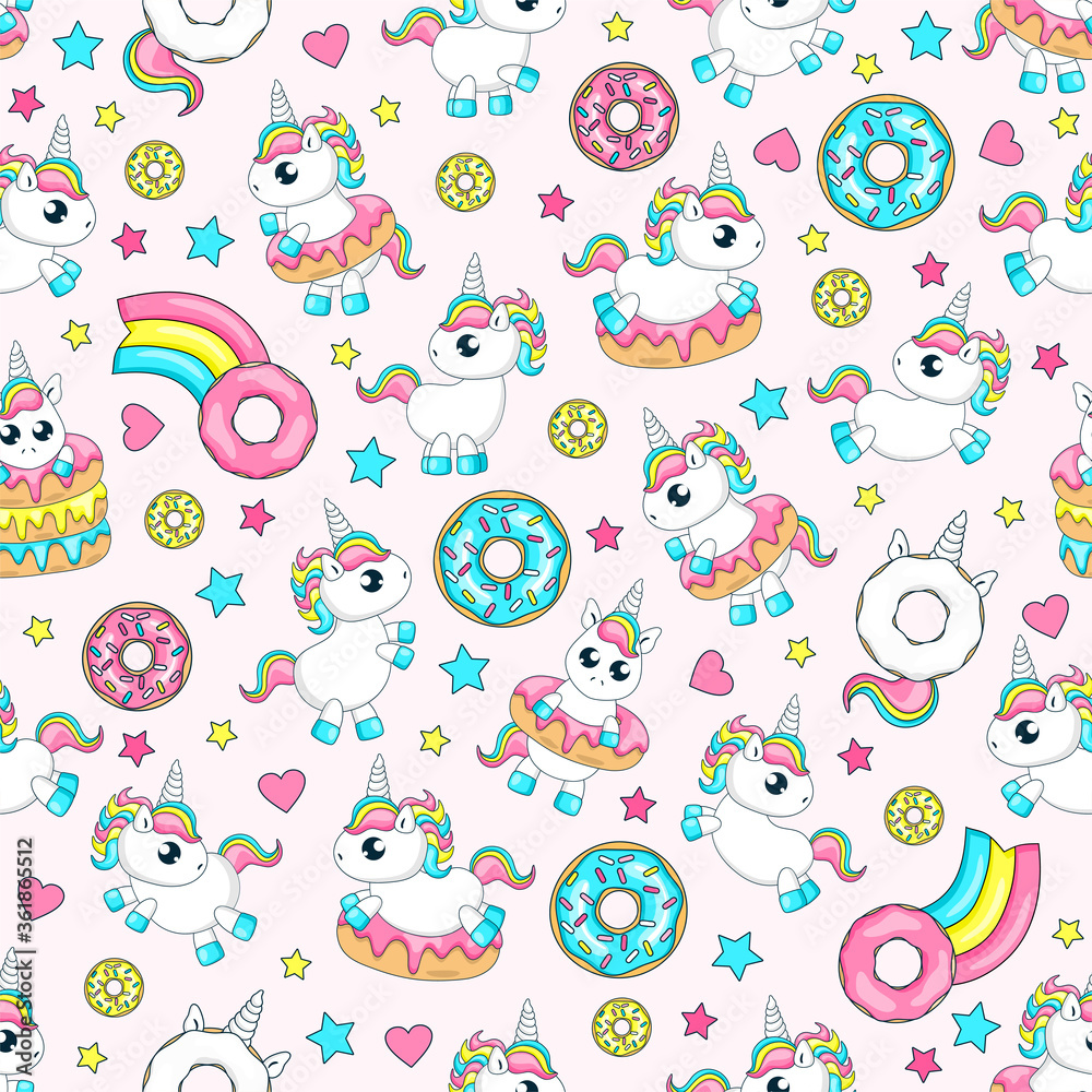 Fairytale seamless pattern. Cute baby unicorns. Donut unicorn with white  glaze and rainbow tail, pink, blue mint and yellow lemon donuts, donut comet with rainbow.Vector illustration