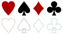 Playing Cards Suits Symbols - Heart, Spade, Diamond, Club