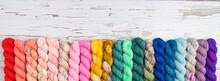 Rainbow Border Of Colorful Yarn