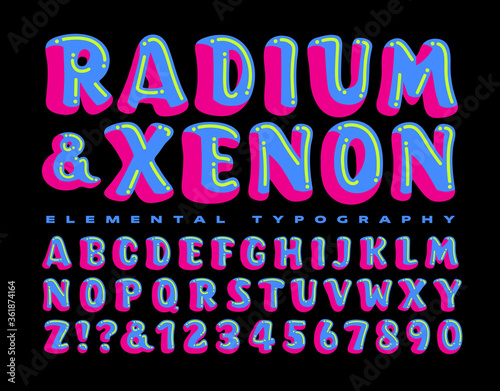 Radium & Xenon is a Brightly Colored and Whimsical Alphabet; This Lettering Styl Canvas Print