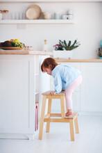Funny Infant Baby Girl Climbin...