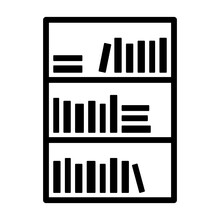 Bookcase Or Bookshelf With Books In Library Line Art Vector Icon For Apps And Websites