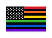 American Pride Rainbow Flag With Stars And Stripes Flat Vector Icon For LGBT Apps, Websites And Print