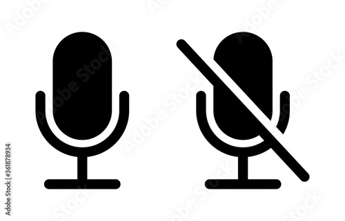 Mute and unmute audio microphone flat vector icons for video apps and websites Fototapeta