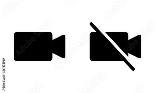 Fotografia Turn on video and turn off video flat vector icons for apps and websites