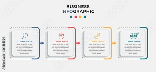 Fotografía Business Infographic design template Vector with icons and 4 four options or steps