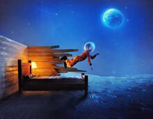 Little Girl Explores Space