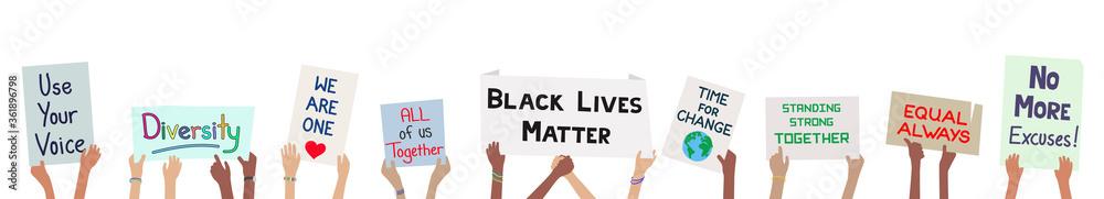 Fototapeta Black lives matter children holding signs to protest for justice banner