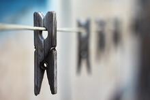 Washing. Old Clothespins In Ru...