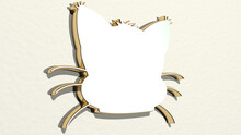 Kitty Cat Made By 3D Illustration Of A Shiny Metallic Sculpture On A Wall With Light Background. Cute And Animal