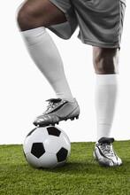 A Soccer Player Ready To Kick ...