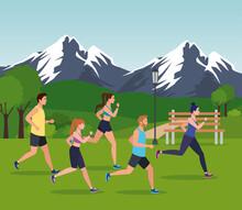 People Jogging Mountainous Lan...