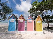 Colorful Changing Room Huts On...