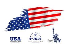 Flag Of America, Brush Stroke ...