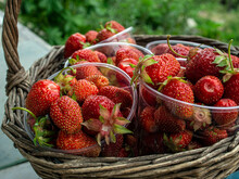 Basket With Fresh Ripe Strawbe...