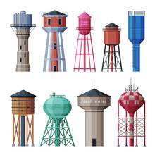 Water Tower Industrial Constructions Collection, Countryside Life Objects Flat Vector Illustration On White Background