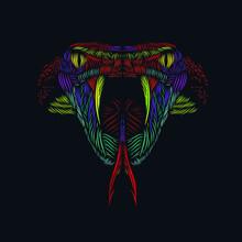The Cobra Viper Snake Head Line Pop Art Potrait Colorful Logo Design With Dark Background