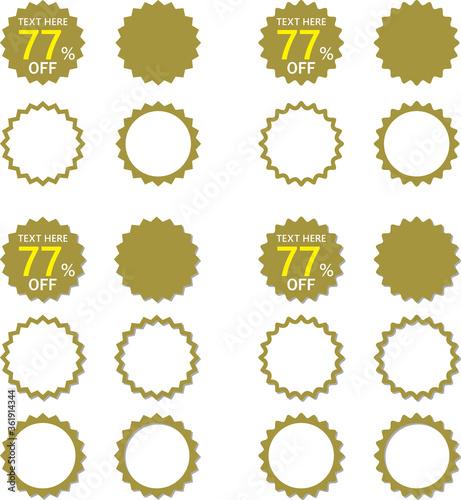 Photo セールなどに用いるギザギザフレーム金色の見出し 影アリと影ナシのセット