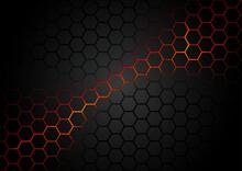 Black Hexagonal Pattern On Red...