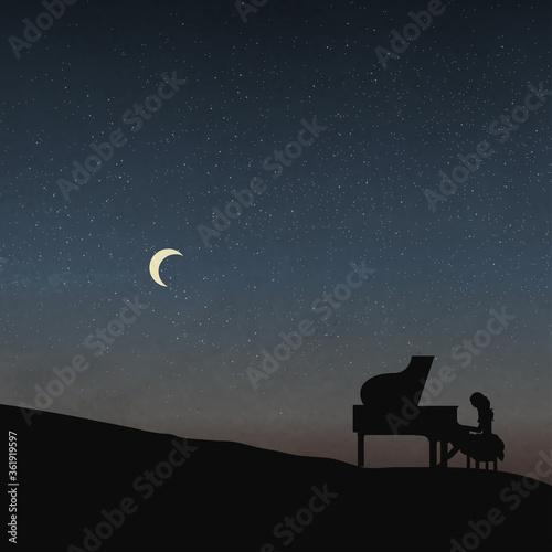Valokuvatapetti A Female Pianist, Under The Moonlight