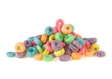 Pile Of Sweetened Corn Cereals Isolated On A White Background. Colorful Corn Rings.
