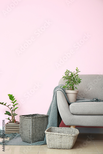 Fototapeta Armchair and wicker baskets with houseplants in room obraz