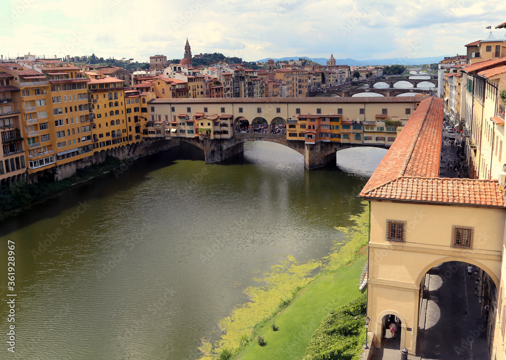 Old Bridge called Ponte Vecchio and Vasari Corridor in Florence