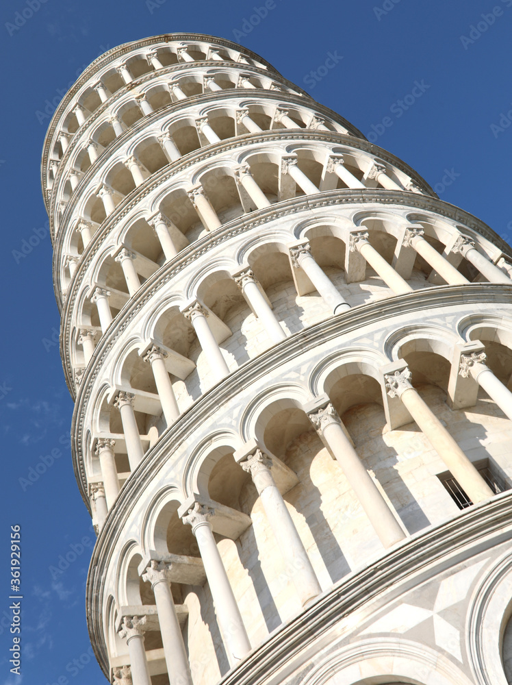Famous white leaning tower of Pisa