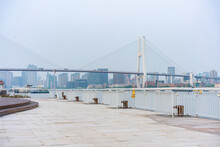 The Expo Park Along The Huangpu River,  With Nanpu Bridge In The Back, Shot In Shanghai, China.