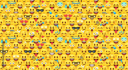 Seamless emoji pattern with cartoon emoticon facial expressions, happy and sad yellow faces. Emojis crowd vector background illustration