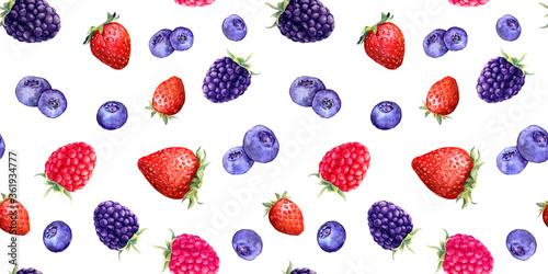 Summer berries - raspberry, strawberry, blackberry, blueberry. Seamless food pattern. Watercolor