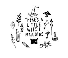 Witch Doodle Illustration In Sketch Style. Hand Drawn Vector Sketch. Symbol Logo Collection. Halloween Poster. Children Pattern. Esoteric Symbols.