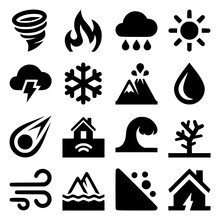 Natural Disaster Icons Set On ...