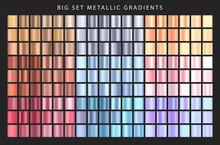 Big Set Metallic Gradients. Collection Of Gradient Colors. Different Metal Gradients. Vector