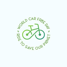 Car Free Day Symbol With Bicycle Illustration