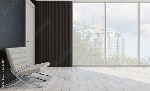 Fototapeta hotel lobby. large windows with city views. armchairs for visitors. 3D rendering obraz