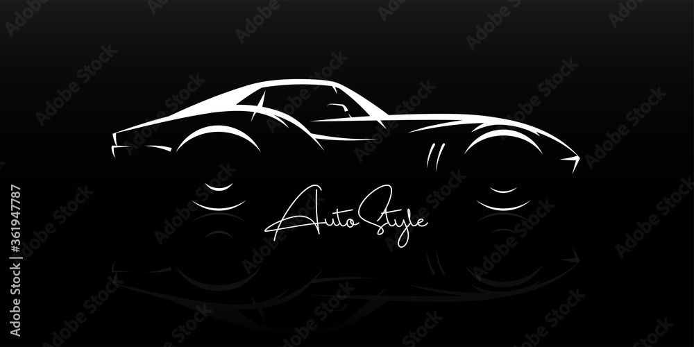 Concept classic sports car silhouette. Automotive retro roadster showroom emblem. Vintage performance motor vehicle. Dealership logo style design. Vector illustration.