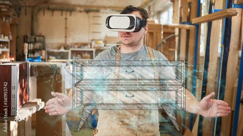 Fototapeta Furniture maker with VR glasses visualizes chest of drawers obraz