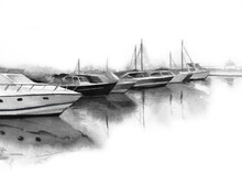 Painted Bay With Yachts. Minimalist Artwork. Sea Landscape. Watercolour Illustration On White Background.