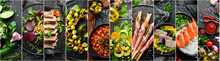 Food Collage. Set Of Dishes An...