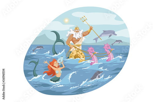 Fotografie, Obraz Mythology, Greece, Olympus, god, Neptune, religion concept