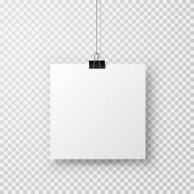 Blank Paper Sheet Hanging On B...