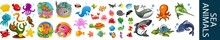 Sea Animal Character Icons Ill...