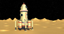 Landing Module Spaceship On Moon Surface. Fantasy Retro 3d Render Illustration
