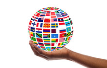 Young Guy Holding Globe Made Of International Flags, Isolated On White, Collage