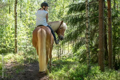 Fotografie, Obraz Woman horseback riding in forest