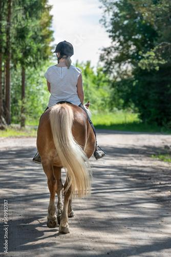 Woman horseback riding in forest Wallpaper Mural