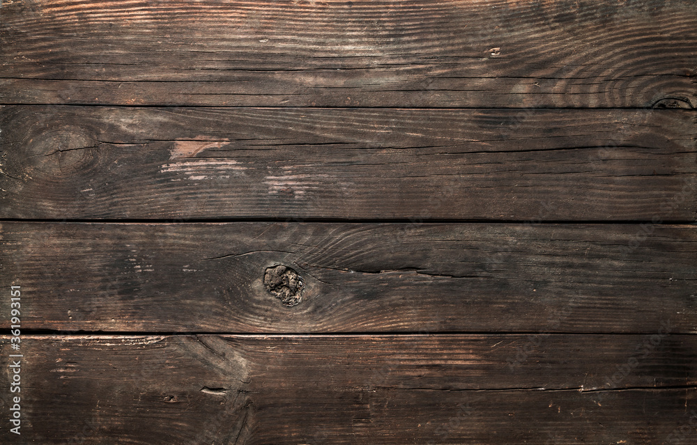 Fototapeta Old natural wooden background or rustic texture. Wood table or floor, top view, flat lay